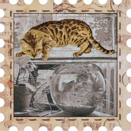 "Cross stitch kit with canvas and frame ""Hunter"""