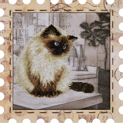 "Cross stitch kit with canvas and frame ""Pet"""