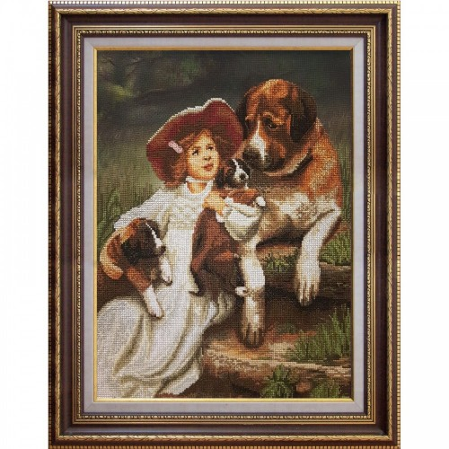 "Cross stitch kit with canvas with printed background ""Can I hold them?"""