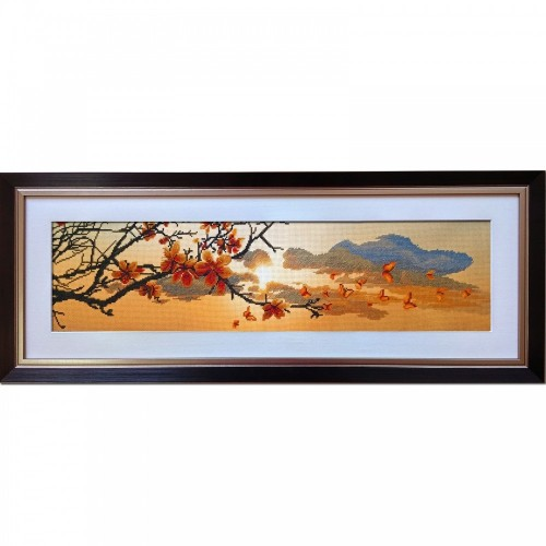 "Cross stitch kit with canvas with printed background ""Spring sunset"""