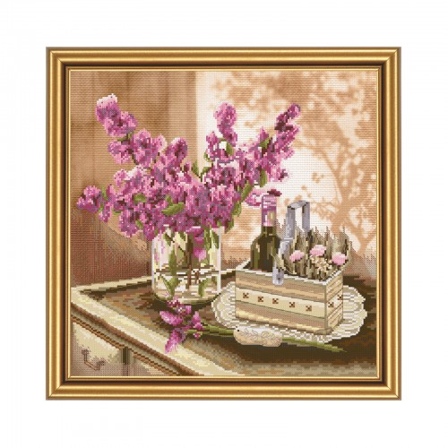 "Cross stitch kit with canvas with printed background ""The June morning"""