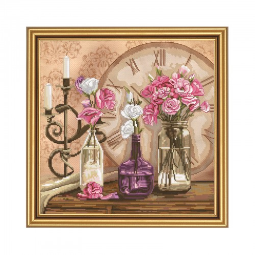 "Cross stitch kit with canvas with printed background ""Flower time"""