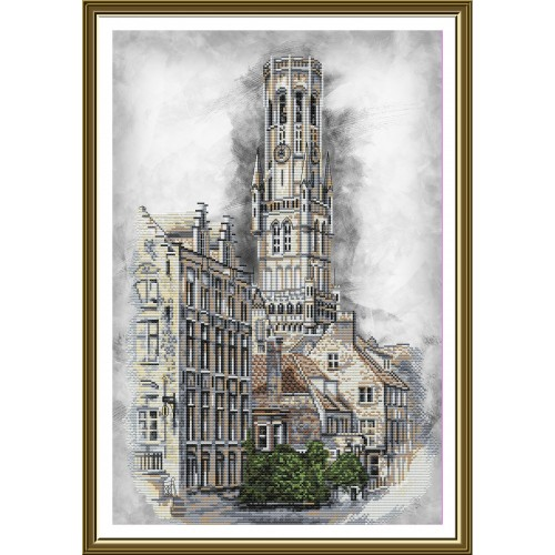 "Cross stitch kit with canvas with printed background ""Belgium. Bruges"""