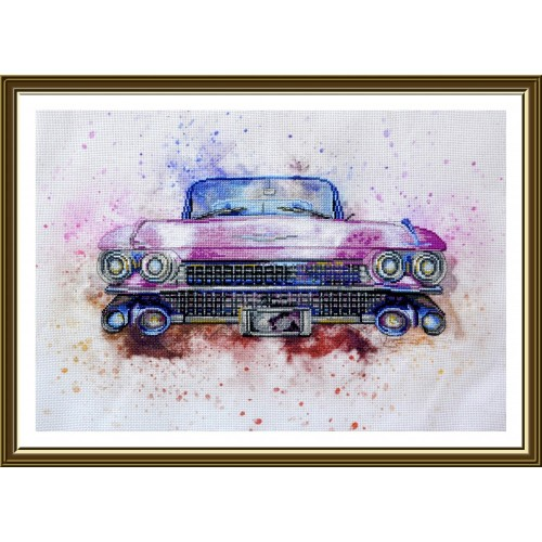 "Cross stitch kit with canvas with printed background ""Cabriolet"""