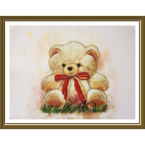 "Cross stitch kit with canvas with printed background ""Teddy bear"""