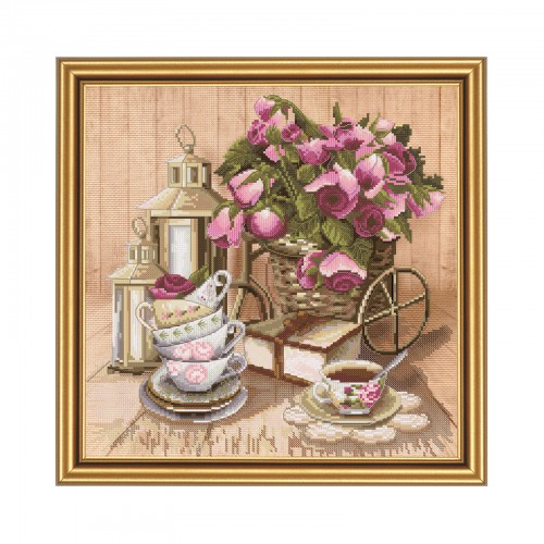 "Cross stitch kit with canvas with printed background ""Aroma tea"""