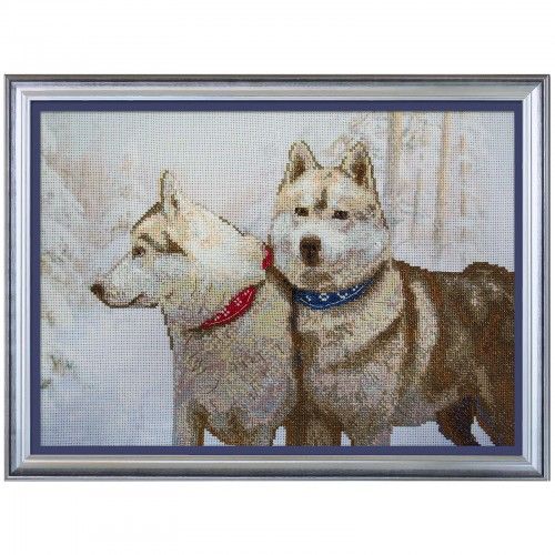 "Cross stitch kit with canvas with printed background ""Snow dogs"""