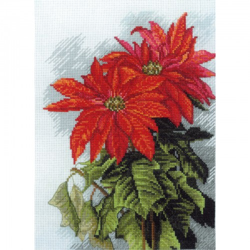 "Cross stitch kit with canvas with printed background ""Christmas star"""