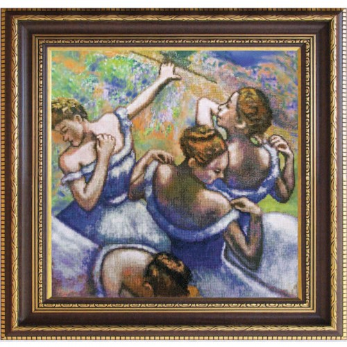 "Cross stitch kit with canvas with printed background ""Blue dancers"""