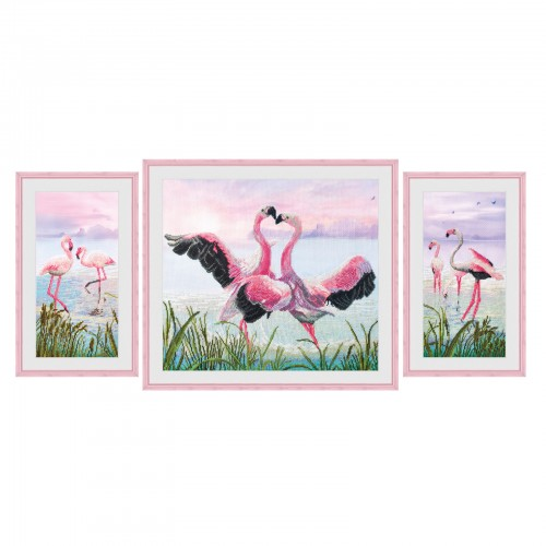 """Cross stitch kit with canvas with printed background """"Flamingo dance"""""""