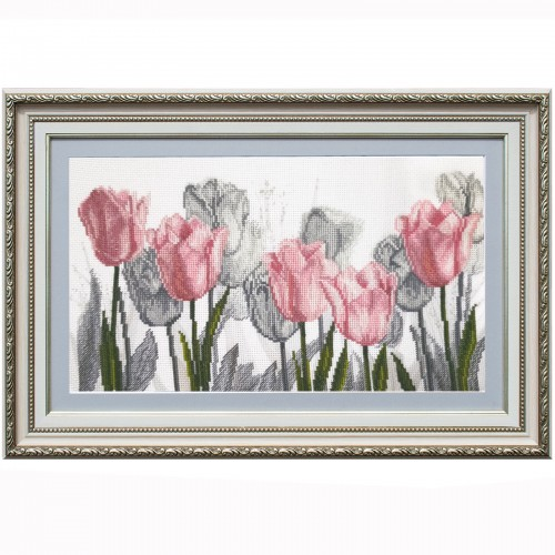 """Cross stitch kit with canvas with printed background """"Floral sonata"""""""