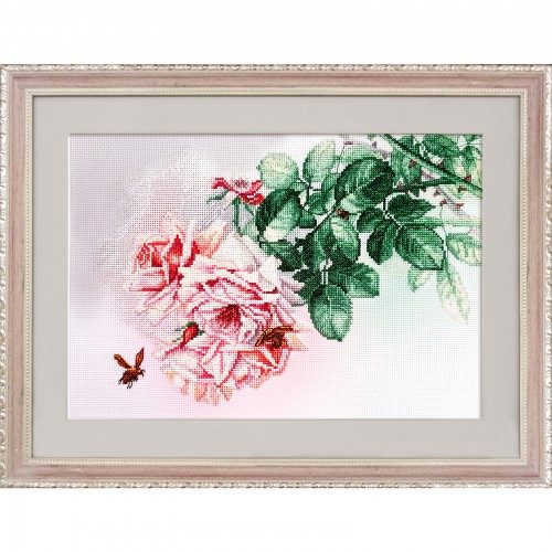 """Cross stitch kit with canvas with printed background """"Pink dreams"""""""