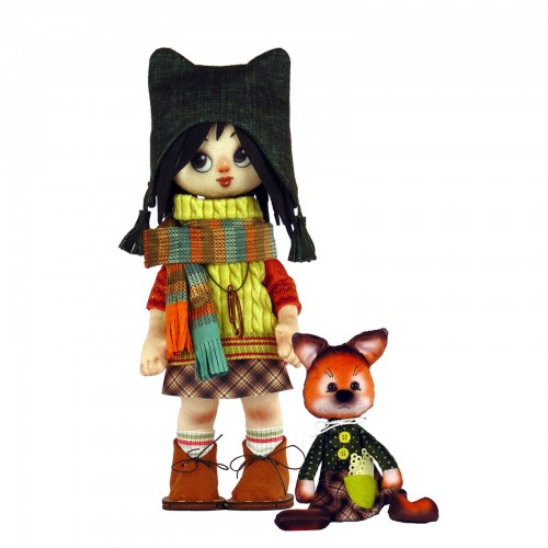 "Dolls sewing kit ""Girl with a fox"""