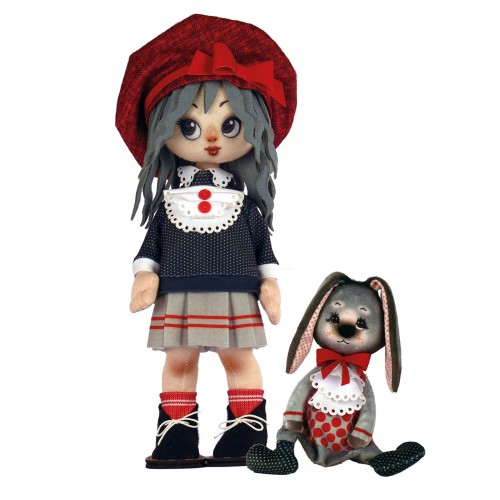 """Dolls sewing kit """"Girl with a bunny"""""""