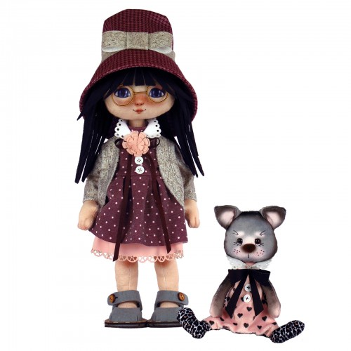 """Dolls sewing kit """"Girl with a cat"""""""
