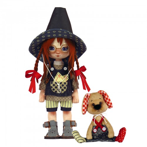 """Dolls sewing kit """"Girl with a doggy"""""""