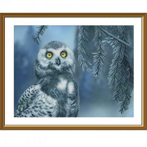 """Cross stitch kit with canvas with printed background """"Screech-owl"""""""