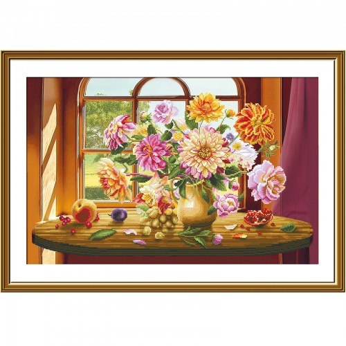 """Cross stitch kit with canvas with printed """"Autumn waltz"""""""