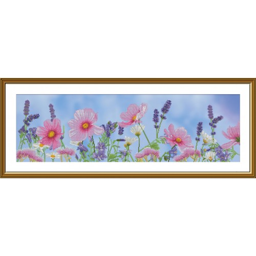 """Cross stitch kit with canvas with printed """"Wildflowers"""""""