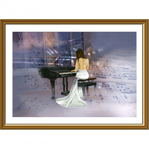 """Cross stitch kit with canvas with printed """"Melody"""""""