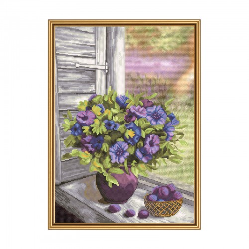 "Cross stitch kit with canvas with printed background ""Purple noon"""