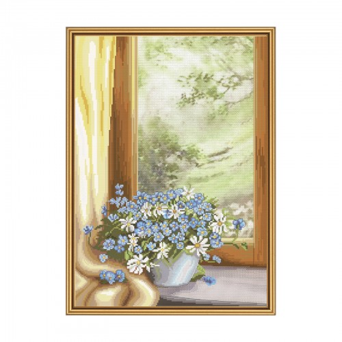 "Cross stitch kit with canvas with printed background ""Flower fantasy"""