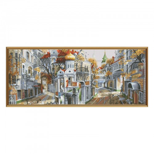 "Cross stitch kit with white canvas ""Reverse side of the capital"""