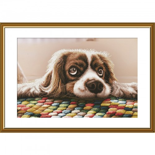 """Cross stitch kit with canvas with printed background """"I'm yours"""""""