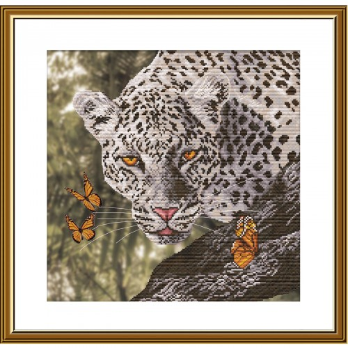 """Cross stitch kit with canvas with printed background """"Кitty"""""""
