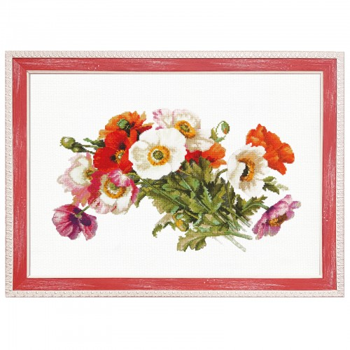 "Cross stitch kit with white canvas ""Bouquet of poppies"""