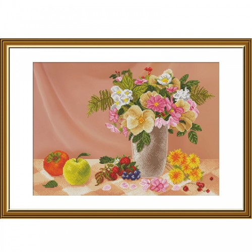 """Cross stitch kit with canvas with printed background """"Aroma"""""""