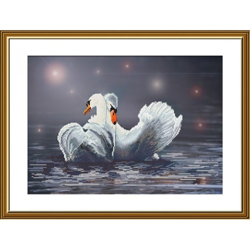 "Cross stitch kit with canvas with printed background ""Swan fidelity"""