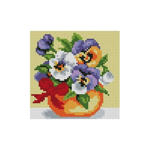 "Cross stitch kit with canvas with printed background ""The sun in a vase"""