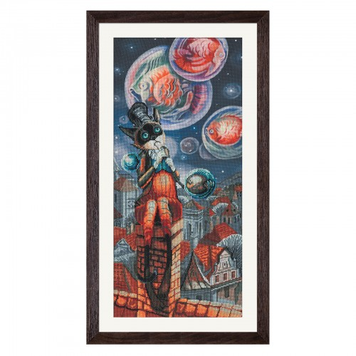 """Cross stitch kit with canvas with printed background """"Bubble blower"""""""