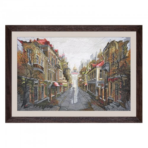 "Cross stitch kit with white canvas ""City for two"""