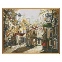 """Cross stitch kit with white canvas """"Legends of old streets"""""""