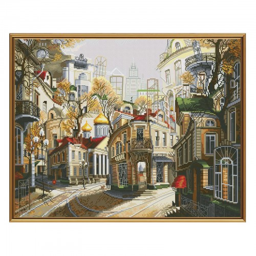 "Cross stitch kit with white canvas ""Legends of old streets"""