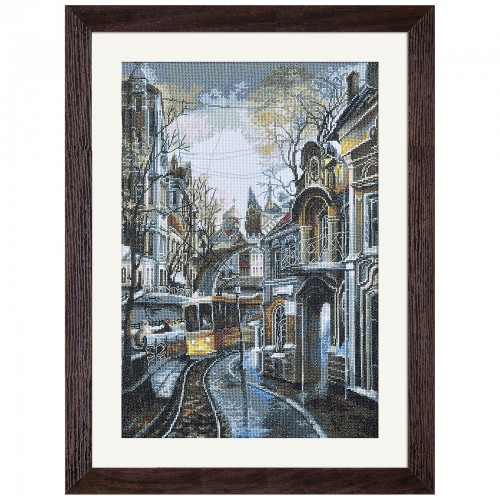 "Cross stitch kit with white canvas ""Tram ways"""