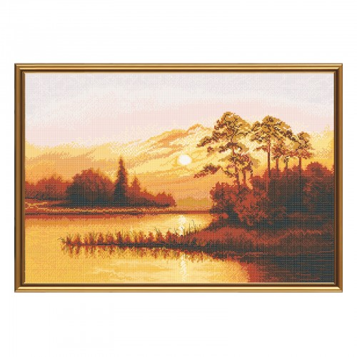 "Cross stitch kit with white canvas ""Sunset over the lake"""
