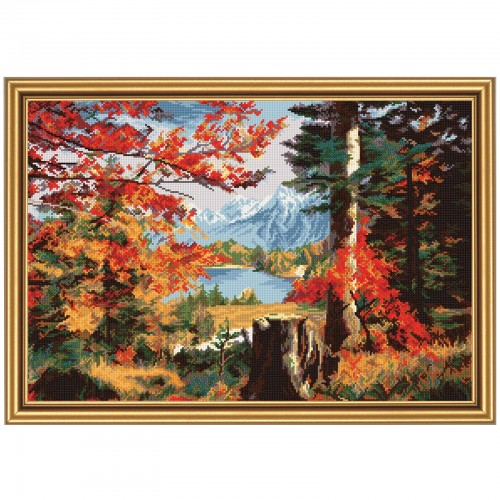 "Cross stitch kit with white canvas ""Valley in the fall"""