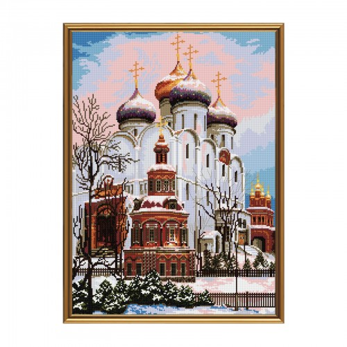 "Cross stitch kit with white canvas ""Assumption Cathedral"""