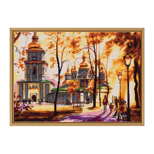 "Cross stitch kit with white canvas ""Sunny day"""