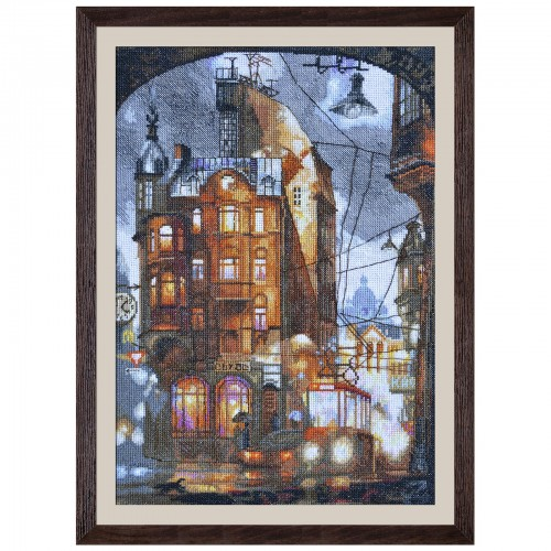"Cross stitch kit with white canvas ""Night city"""